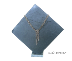 Lariat Fixed Knot Necklace by Cecilia's steel $84