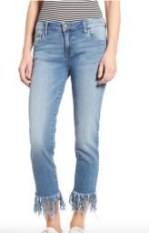 Fringe Cuff Crop Jeans SUN & SHADOW $65.00