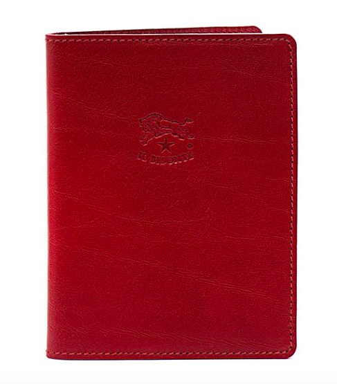PASSPORT HOLDER IN COWHIDE LEATHER C1014 (COLOR RED) $110
